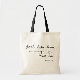 Fatih, Hope, Love Tote Bags