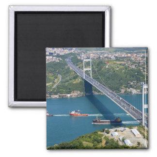 Fatih Sultan Mehmet Bridge over the Bosphorus, 2 Inch Square Magnet