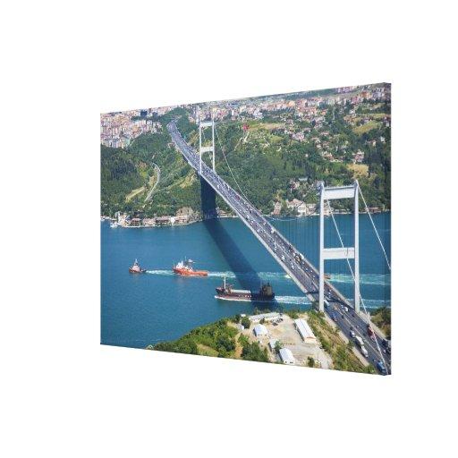 Fatih Sultan Mehmet Bridge over the Bosphorus, Stretched Canvas Print
