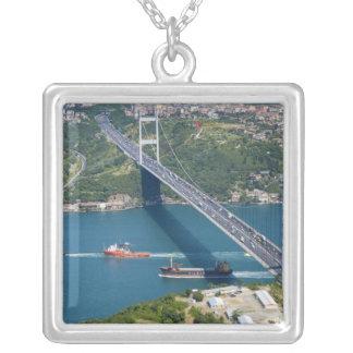 Fatih Sultan Mehmet Bridge over the Bosphorus, Square Pendant Necklace