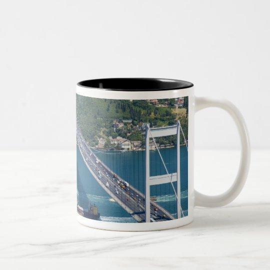 Fatih Sultan Mehmet Bridge over the Bosphorus, Two-Tone Coffee Mug