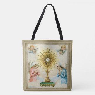 Fatima Angels Praying Eucharist Monstrance Tote Bag