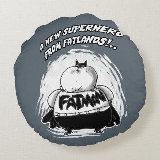 fatman a new superhero from fatlands round pillow