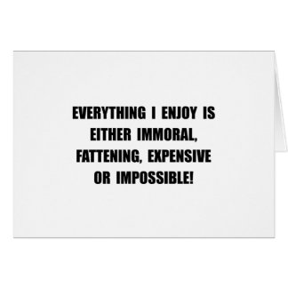 Fattening Expensive Impossible Stationery Note Card