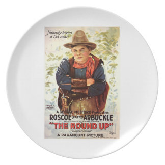 Fatty Arbuckle The Round Up 1920 movie poster Dinner Plate