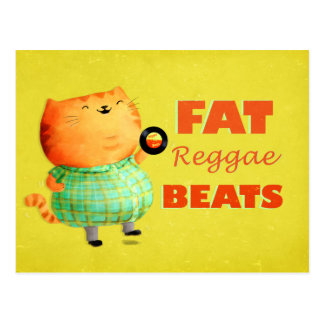 Fatty Fatty Fat Reggae Cat Postcard