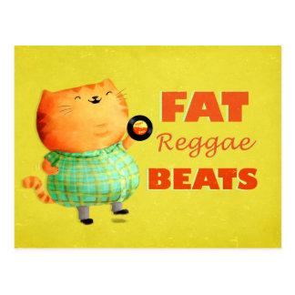 Fatty Fatty Fat Reggae Cat Postcard