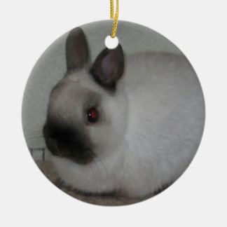 Fatty Red Eyed Rabbit Round Ornate Ceramic Ornament