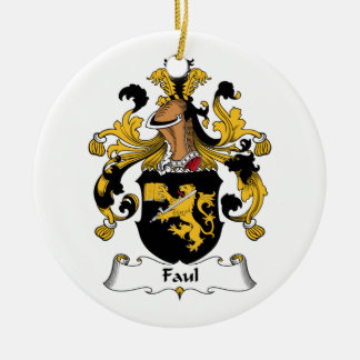 Faul Family Crest Double-Sided Ceramic Round Christmas Ornament