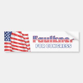 Faulkner para la bandera americana patriótica del  etiqueta de parachoque