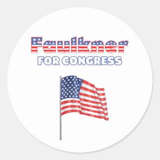 Faulkner para la bandera americana patriótica del pegatina redonda