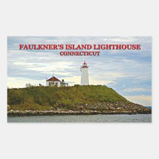 Faulkners Island Lighthouse, Connecticut Rectangular Sticker