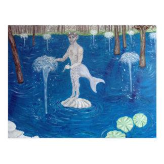 Faun in a Fountain Forest Postcard