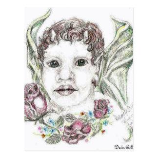 Faun with roses postcard