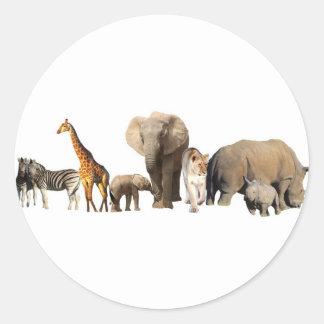 Fauna africana pegatina redonda
