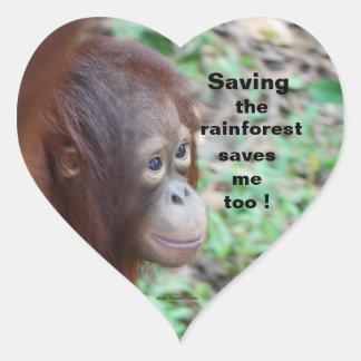 Fauna: Ahorre la selva tropical y los animales Pegatina En Forma De Corazón
