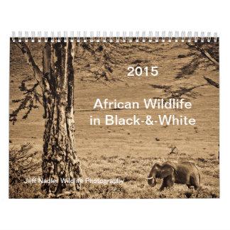 Fauna de 2015 africanos en calendario de pared