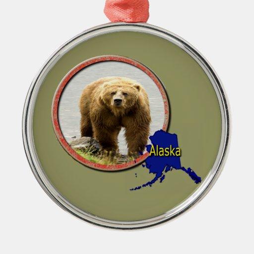 Fauna de Alaska Adorno Navideño Redondo De Metal