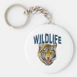 fauna de la bandera con el tigre llavero redondo tipo pin
