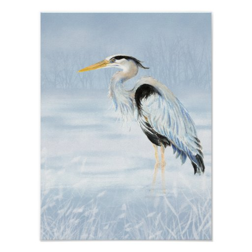 Fauna de la naturaleza del pájaro de la garza de g póster