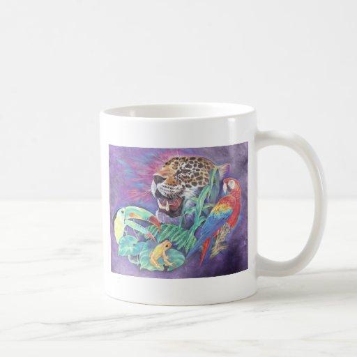 Fauna de la selva tropical en armonía tazas de café
