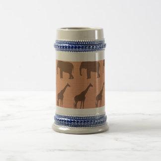 Fauna del africano del vintage jarra de cerveza
