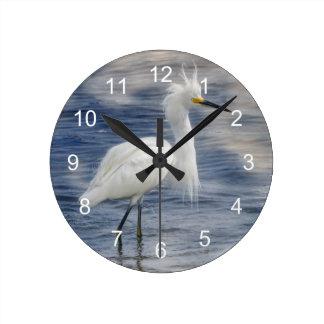 Fauna del animal del Egret nevado Relojes De Pared