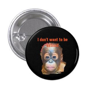 Fauna del orangután pin redondo de 1 pulgada
