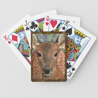 Fauna joven del arte de la acuarela del cervatillo barajas de cartas