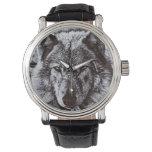 Fauna negra de la cara del lobo relojes de mano