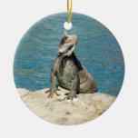 Fauna tropical de la iguana adorno navideño redondo de cerámica