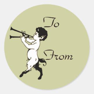 Fauno joven con la flauta doble Clr Pegatina Redonda