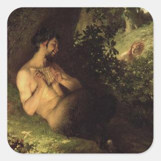 Fauno y ninfa, 1868 pegatina cuadrada