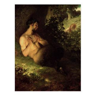 Fauno y ninfa, 1868 postal