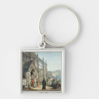 Faust and Marguerite, 1857 (w/c on paper) Silver-Colored Square Keychain