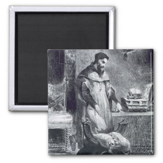 Faust in his Study, from Goethe's Faust, 1828, (il 2 Inch Square Magnet