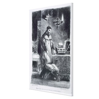 Faust in his Study, from Goethe's Faust, 1828, (il Canvas Print