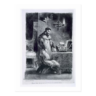 Faust in his Study, from Goethe's Faust, 1828, (il Postcard