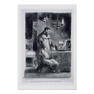 Faust in his Study, from Goethe's Faust, 1828, (il Posters