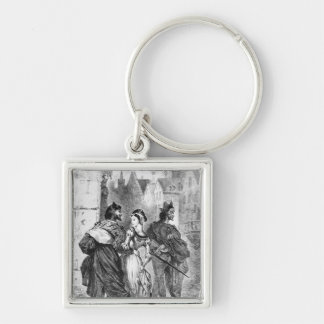 Faust meeting Marguerite Silver-Colored Square Keychain