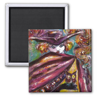 FAUST / Mysterious Mask with Tricorn and Owl 2 Inch Square Magnet