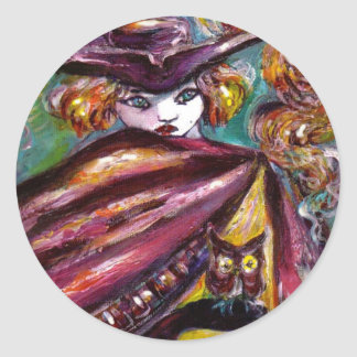 FAUST / Mysterious Mask with Tricorn and Owl Classic Round Sticker