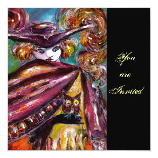 FAUST/ Mysterious Mask with Tricorn Costume Pary 5.25x5.25 Square Paper Invitation Card