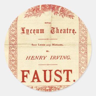 Fausto de Henry Irving Pegatina Redonda