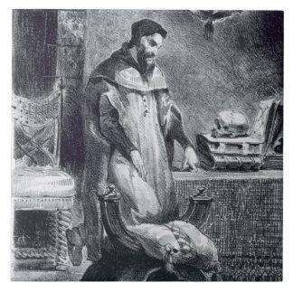 Fausto en su estudio, de Fausto de Goethe, 1828, ( Azulejo Cuadrado Grande