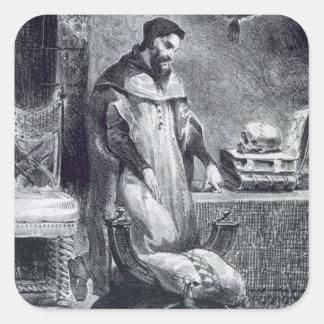 Fausto en su estudio, de Fausto de Goethe, 1828, Pegatina Cuadrada