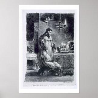 Fausto en su estudio, de Fausto de Goethe, 1828, ( Póster
