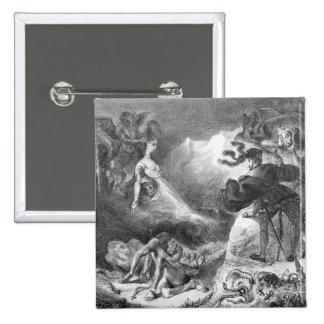Fausto y Mephistopheles en las brujas Pin Cuadrada 5 Cm