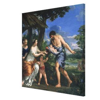Faustulus entrusting Romulus and Remus Canvas Print
