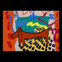 Fauvist Abstract Dachshund posters